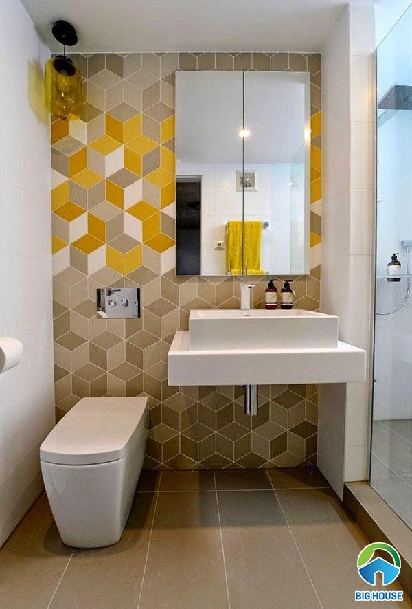 Gạch bông ốp nhà vệ sinh lục giác 3D màu vàng