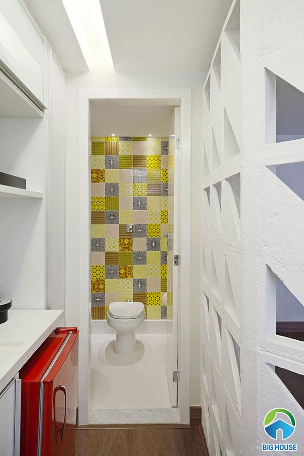 Gạch bông ốp tường tone màu vàng chủ đạo