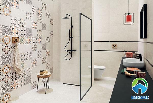 Mẫu gạch bông tường nhà tắm đa sắc màu