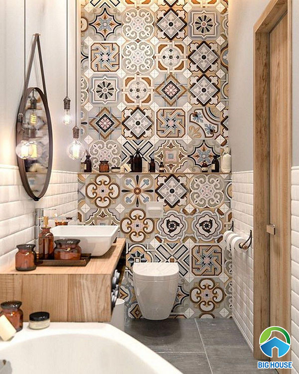 Gạch bông ốp tường nhà tắm màu nâu vàng