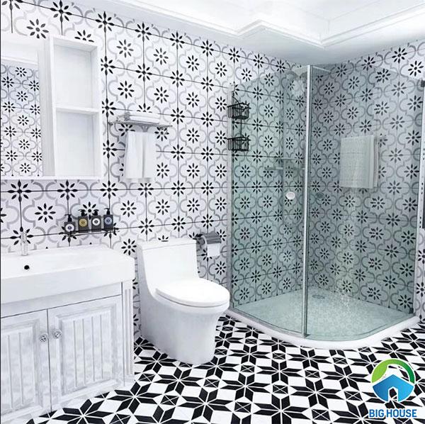 Gạch bông ốp nhà vệ sinh họa tiết hoa văn màu xám trắng