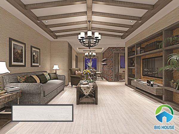 Gạch vân gỗ Tasa màu xám trắng 1560 cho phòng khách sang trọng