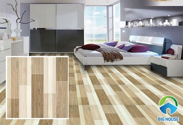 Mẫu gạch lát nền giả gỗ phòng ngủ Ý Mỹ P68067