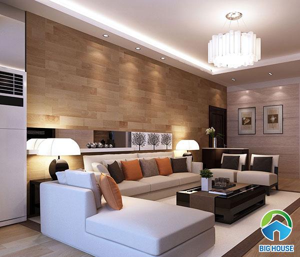 Gạch 15x60cm ốp tường phòng khách họa tiết gỗ tự nhiên