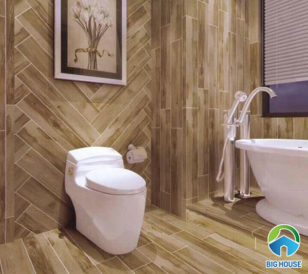 Gạch vân gỗ ốp lát nhà tắm, nhà vệ sinh