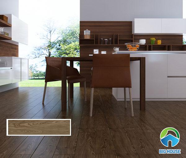 Mẫu gạch vân gỗ 15x60cm GT15603 lát nền phòng bếp màu nâu đen