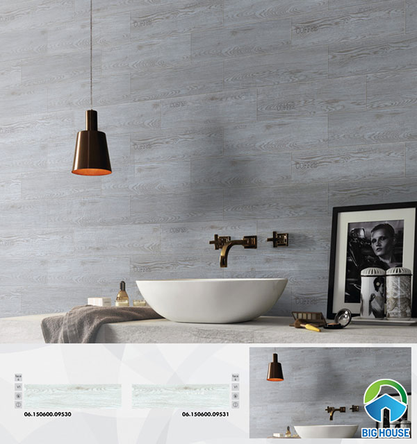 Mẫu gạch ốp tường vân gỗ Prime 15x60 09530 - 09531 màu xám