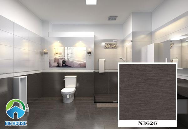 gạch lát nền nhà vệ sinh viglacera N3626 màu nâu đen