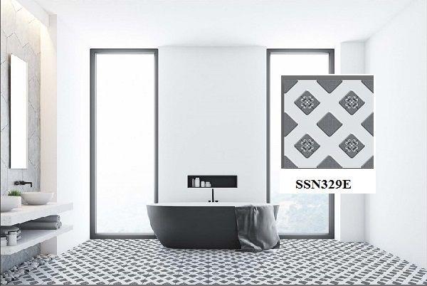 Gạch lát nền nhà tắm Ý Mỹ SSN329E họa tiết hoa văn hình khối độc đáo