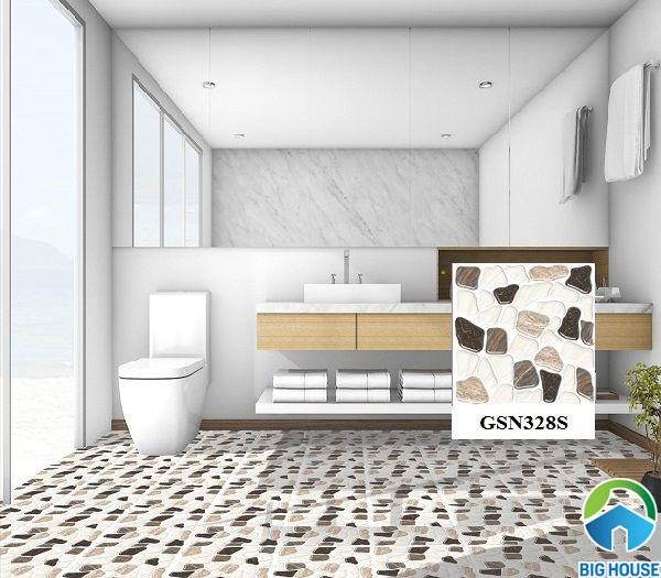 Mẫu gạch lát nhà tắm giả sỏi Ý Mỹ GSN328S mang giá trị thẩm mỹ cao
