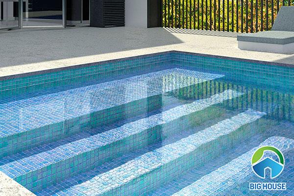 Mẫu gạch mosaic ốp lát bể bơi