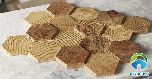 gạch mosaic gỗ hình lục giác