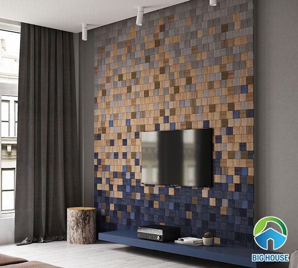 Gạch mosaic gỗ hình vuông đa sắc tạo ấn tượng cho phòng khách