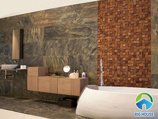 gạch mosaic gỗ ốp tường cho không gian nhà tắm