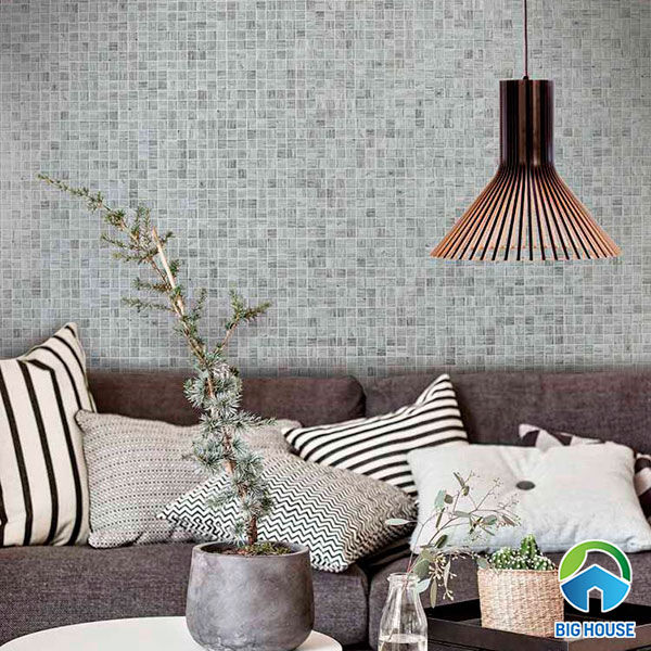 Phòng khách tự nhiên hơn với mẫu gạch tone màu xám