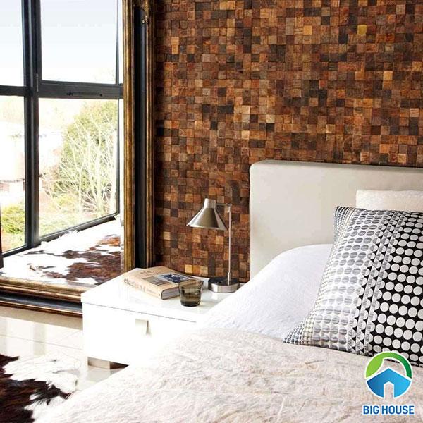 Gạch với gam màu nâu ốp tường phòng ngủ