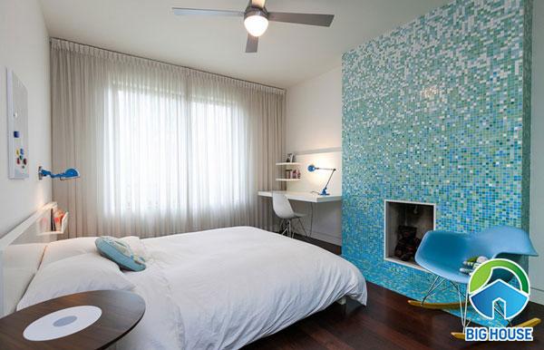 Gạch ốp cho phòng ngủ tông màu xanh tươi mát