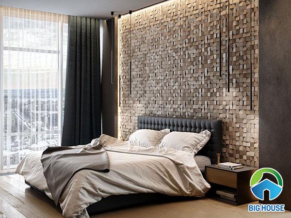 Gạch mosaic vân gỗ cùng tông màu với đồ nội thất phòng ngủ