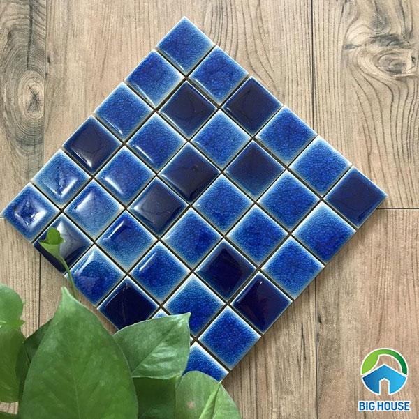 gạch mosaic gốm màu xanh dương