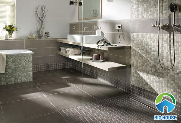 Gạch ốp nhà tắm màu xám rêu