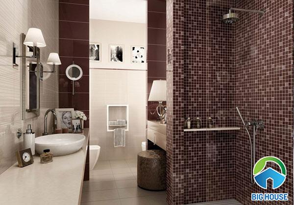Gạch ốp màu nâu ốp tường nhà tắm sang trọng