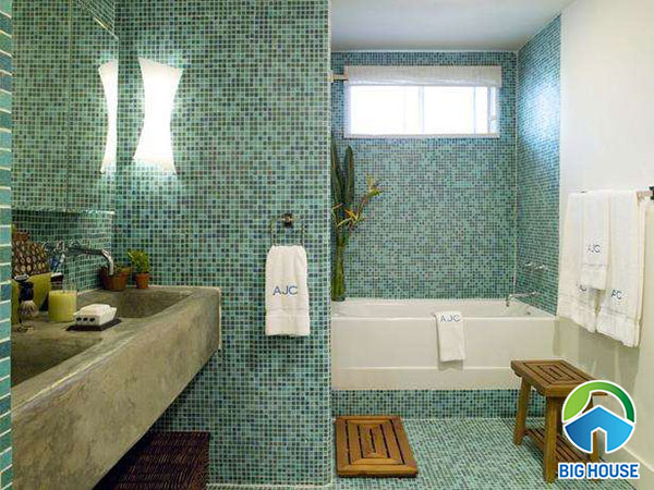 Gạch mosaic màu xanh lá cây cho nhà tắm