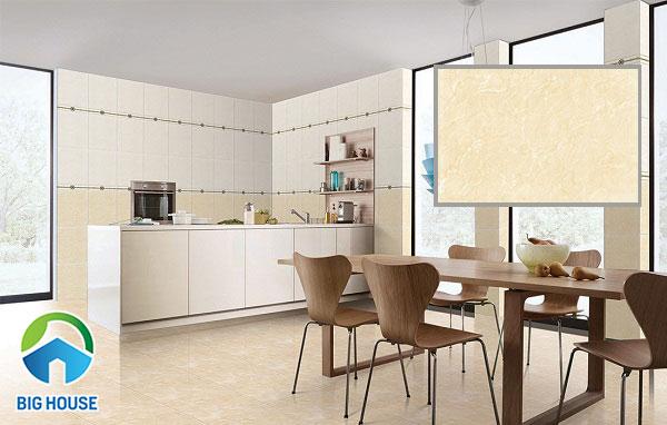 Mẫu gạch ốp tường bếp tone màu vàng kem B4504