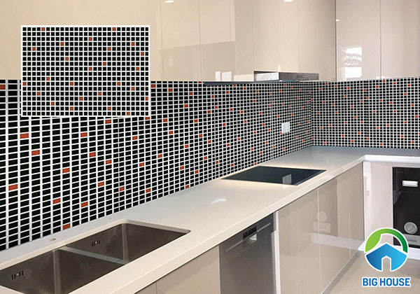 Gạch ốp tường bếp viglacera B4556 họa tiết gạch mosaic màu đen điểm đỏ