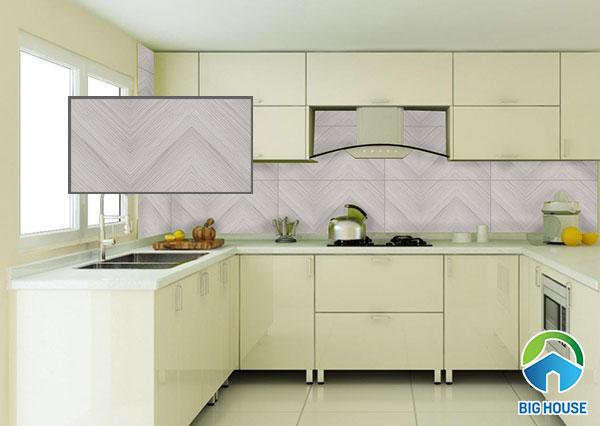 Mẫu gạch ốp bếp Viglacera HP-M3606 màu xám, họa tiết vân gỗ