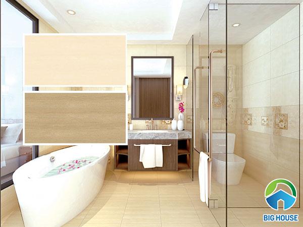 Gạch ốp nhà vệ sinh Tasa 40x80cm màu nâu và nâu kem nhẹ nhàng, ấm cúng