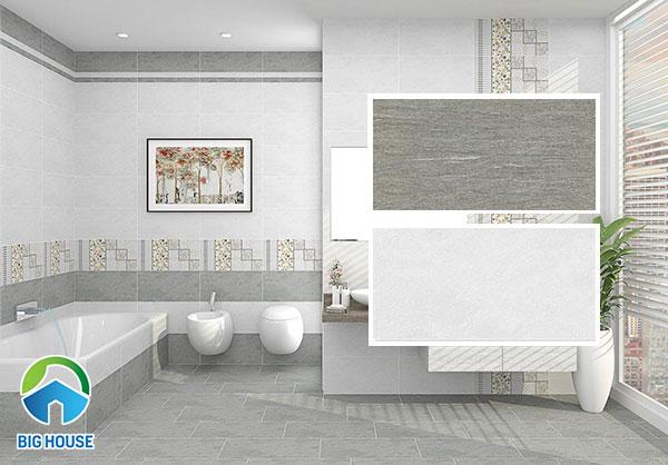 Mẫu gạch ốp tường nhà tắm Viglacera màu đậm HPM3604 và màu nhạt HPM3603