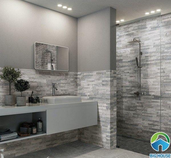 Gạch ốp tường nhà vệ sinh vân đá