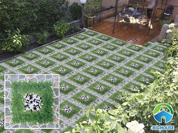 Gạch cỏ lát nền màu xanh lục Viglacera GF 458