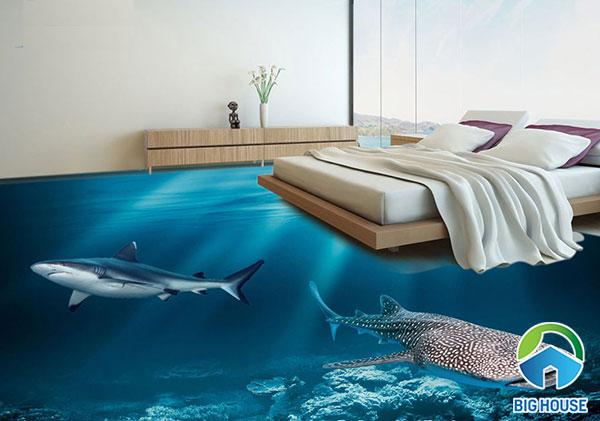 Gạch 3D cá heo MB13 tạo nên khung cảnh sinh động cho không gian phòng ngủ