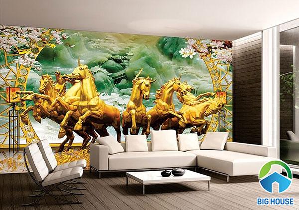 gạch tranh 3D ốp tường phòng khách