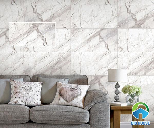 Mẫu gạch vân đá ốp tường Prime 08895 bề mặt nhẵn bóng, màu xám trắng