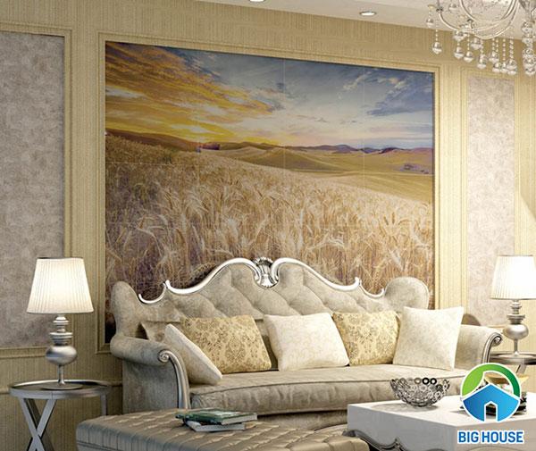 Mẫu gạch tranh 09614 phong cảnh cánh đồng lúa mì ốp tường phòng khách