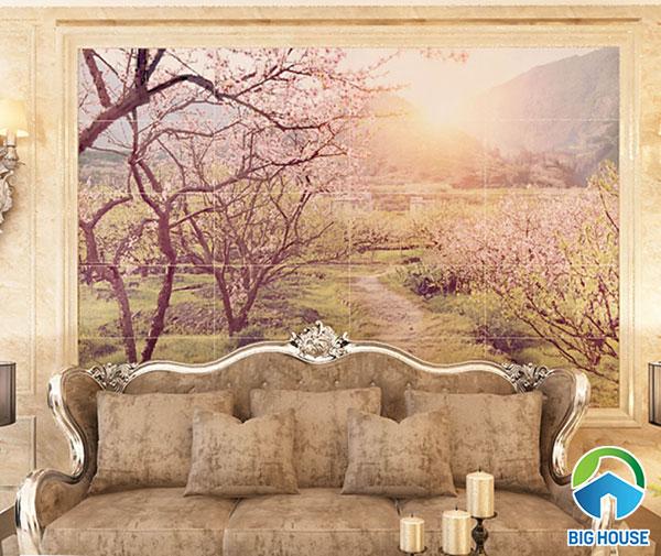 Mẫu gạch tranh 3D 09613 phong cảnh rừng hoa anh đào