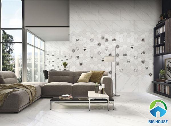 Top mẫu gạch ốp tường phòng khách màu trắng đẹp nhất 2021