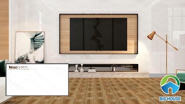 gạch ốp tường phòng khách màu trắng Vitto 2502F1