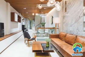 15+ Mẫu gạch ốp tường phòng khách nhà ống đẹp nhất 2020
