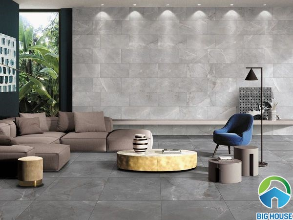 gạch ốp tường phòng khách men matt màu xám