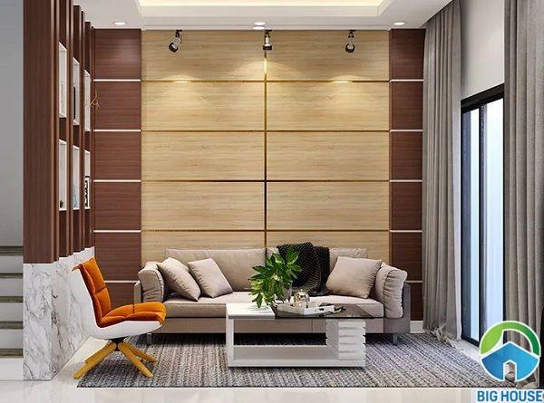 Mẫu gạch vân gỗ ốp tường phòng khách nhà ống