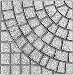 gạch lát vỉa hè họa tiết hình rẻ quạt màu ghi