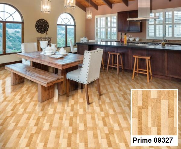 Mẫu gạch lát nền nhà bếp giả gỗ đẹp, ấm cúng