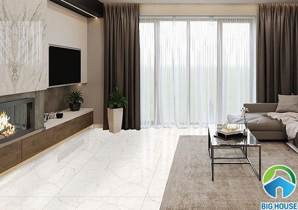 Gạch lát nền màu trắng Ý Mỹ P88020C vân đá marble sang trọng