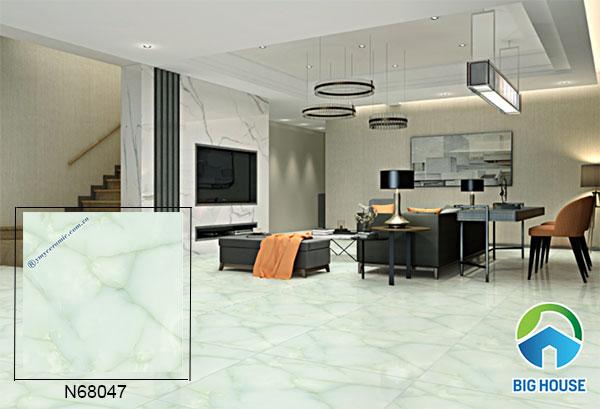 Gạch bóng kiếng màu xanh họa tiết vân đá cẩm thạch N68047