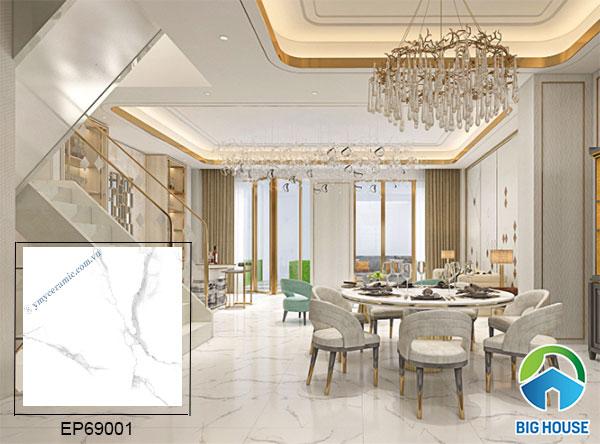 mẫu gạch bóng kiếng 60x60 EP69001 họa tiết vân đá màu trắng sang trọng