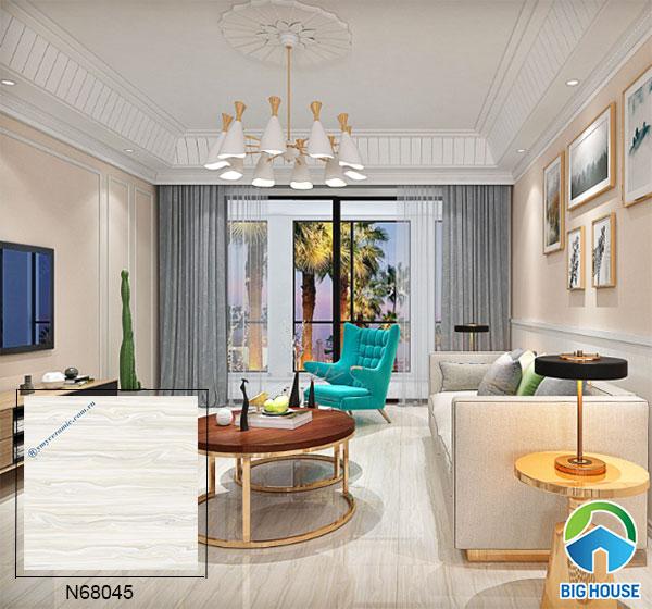 Mẫu gạch bóng kiếng Ý Mỹ vân đá N68045 cho phòng khách hiện đại