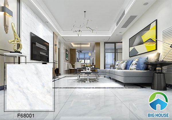 Mẫu gạch vân đá Ý Mỹ 60x60cm F68001 gam màu trắng tinh tế